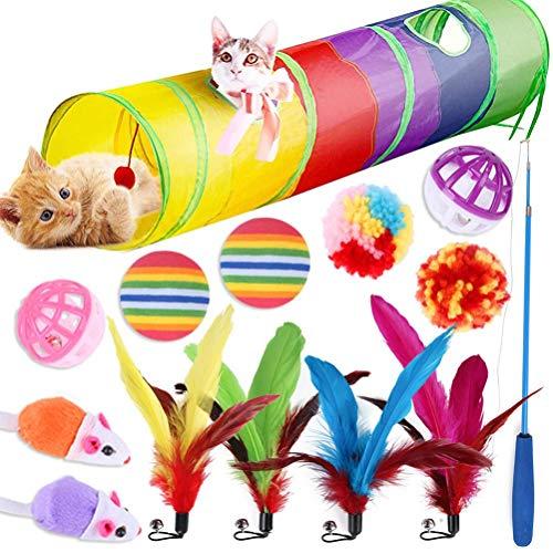 Desire Sky Katzenspielzeug, Katzentunnel, Angelrute, Feder, flauschige Maus und Glocken, für den Innenbereich, 14 Stück