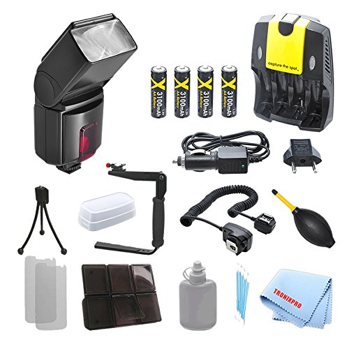 Professional TTL Swivel Flash + 4 Rechargeable AA Batteries + Home / Car Charger + 180 Degree Quick Flip rotating Flash Bracket + Heavy Duty Off-Camera Flash Cord for Canon T1i, T2i, T3, T3i, T4i, T5, T5i, SL1, 10D, 20D, 30D with a Complete Starter Kit