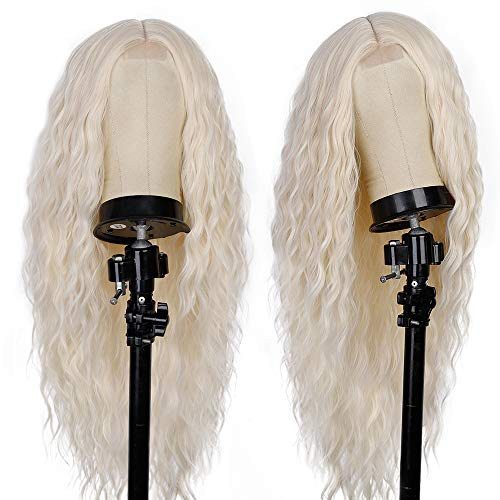 Platinum Blonde Wig Long Water Wave Curly Wigs for Women Synthetic Heat Resistant Wig 26inch Middle Part Wig Natural Looking Wigs for Daily Party Use
