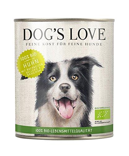 DOG\'S LOVE BIO Hundefutter Nassfutter Huhn mit Buchweizen, Sellerie & Basilik (6 x 800g)