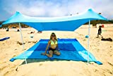 Best XL Portable Beach Shade, Sun Shelter, Canopy Sail Tent, Large Sunshade - Includes Carrying Bag, 2 Poles, 2 Stakes for Park/Grass Use, Elastic Lycra Sail, and 4 sandbags.