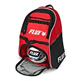 Flux Guardian Soccer Bag with Ball Holder - Sports Backpack with Cleat and Ball Holding Pocket for Soccer, Basketball and Volleyball - Comes with Signature Shoe Clip - Red White and Black