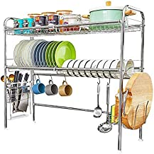 Over The Sink Dish Drying Rack,2-Tier 304 Stainless Steel Large Dish Drainers for Kitchen Counter Length Adjustable -Silver(Sink Width Limit (Sink Size ≤ 35 INCH)