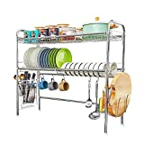 HEOMU Over The Sink Dish Drying Rack,2-Tier Large Dish Drainers for Kitchen Counter Made of Length Adjustable Stainless Steel-Silver(Sink Width Limit (Sink Size ≤ 33 INCH)