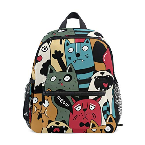 Cat Wacky Expressions Kids School Backpacks Book Bags for Boys Girls
