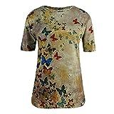 Camiseta de tirantes para mujer, de verano, de manga corta, holgada, con cuello en V, plisada, con estampado floral W01-khxki L