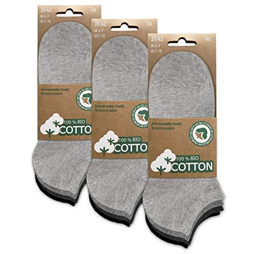 Herren und Damen 100prozent BIO Baumwolle Sneaker Socken Kurzer Schaft (12er Pack) Grau 43-46