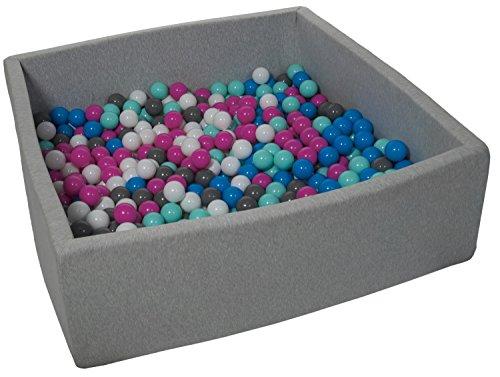 Velinda Bällebad Ballpool Kugelbad Bällchenbad Kinder-Pool mit 600 Bällen/120x120cm (Farbe der Bälle: weiß, blau, pink, grau, türkis)