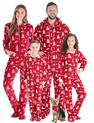 SleepytimePJs Family Matching Fleece Cranberry Deer Onesie Hooded Footed Pajama, Cranberry Deer, Kid's 8