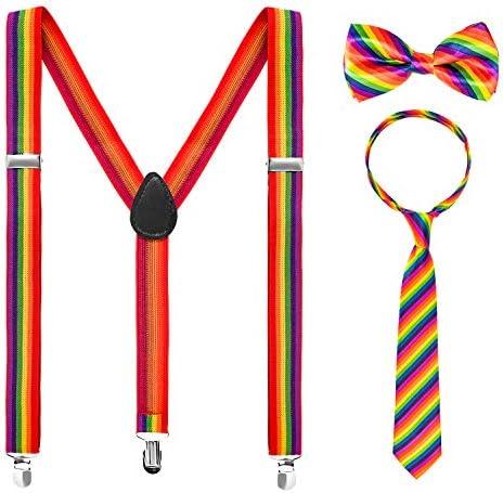 Whaline 3 Piece Rainbow Gay Pride Costume Set Include Suspenders Bowtie and Necktie Adjustable product image