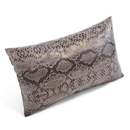 Homemaison–Cuscino in Tela bachette, Effetto Pelle di Serpente, Poliestere, Antracite, 50x 30cm