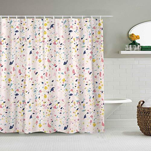 MANISENG Duschvorhang aus Polyestergewebe,Konfetti Terrazzo Inspiriert von Granite Colourful Marble,mit 12 dekorativen Badvorhängen aus Kunststoffhaken 72 x 72 Zoll
