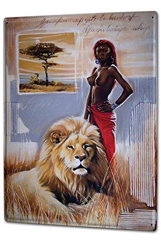 LEotiE SINCE 2004 Blechschild Wandschild 30x40 cm Vintage Retro Metallschild Weltenbummler Warminski Afrika Massai Löwe