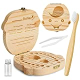 ZIIDOO Baby Tooth Box,Tooth Fairy Keepsake Box with Free Bamboo Toothbrush and Cotton,Wooden Children Teeth Organizer,Tooth Holder for Kids,Keep The Childhood Memory(Boy)