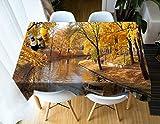 Dreamdge Tovaglia Giallo Paesaggio Del Fiume Degli Alberi di Caduta Tovaglie Bagno, Tovaglia Poliestere 152X228Cm