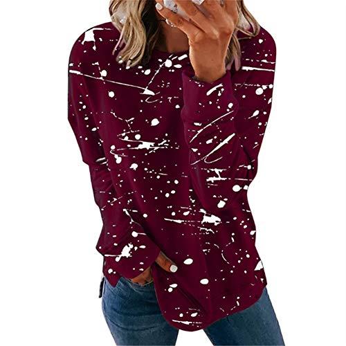 ZFQQ Herbst und Winter Damenbekleidung gestreifte Farbe passend zu All-Match-Pullover T-Shirt Top
