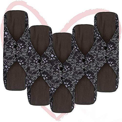 ATIN Almohadillas sanitarias de tela reutilizables, 5 paquetes de gran flujo XL menstrual carbón de bambú