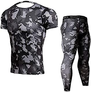 BEESCLOVER Men's Bodybuilding Suits Jogging Compression Mens Sports Suits Camouflage Short Sleeve Shirt Pants MMA Fitness T-Shirt Clothing