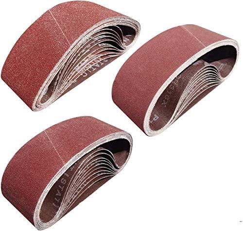 Sackorange 30 PCS 3 inch x 18 inch Sanding Belts - 10 Each of 80 120 150 Grit Aluminum Oxide Sanding Belts For Belt sander (3x18in)