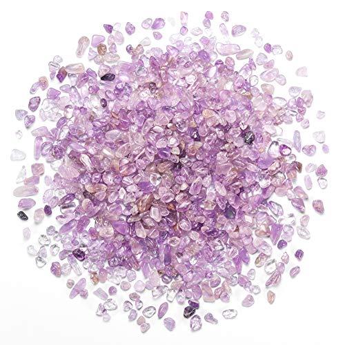 Bofanio 1.1 lb Lavender Chips Stone Gravals Crushed Crystal Quartz Pieces Irregular Shaped Tumbled Stones Raw Gems Beads Filler Decorative Rocks for Aquarium Vases Plants Crafts (500g/Bag)