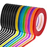 Cridoz 15 Rolls 1/8 Whiteboard Thin Tape Pinstripe Art Tape Dry Erase Board Grid Tape Lines Pinstriping Electrical Marking Tape, Assorted Colors