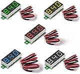 MakerHawk Digital Voltímetro de Corriente Continua 5pcs Mini 0.28 Pulgadas de Dos Hilos 2.5V-30V Mini Digital Voltímetro de Corriente Continua Medidor de tensión 5 Colore