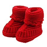 IEason Baby Shoes, Toddler Newborn Baby Knitting Lace Crochet Shoes Buckle Handcraft Shoes (Same Size, red)