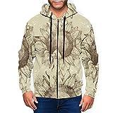 Sudadera con capucha y bolsillos para uso diario para hombre con cremallera completa y sin costuras de...