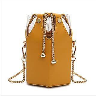 YXHM AU Bucket Girl Small Bag Korean Version of The Simple Wild Port Wind Chain Shoulder Messenger Bag (Color : Yellow)