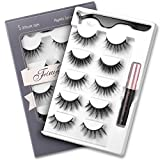 Magnetic Eyelashes and Magnetic Eyeliner Kit, FinyDreamy Magnetic Eyeliner for 3D Magnetic Lashes Natural Look, Come with Professional Applicator, 5 Different Styles Reusable Lashes(5 Pairs)