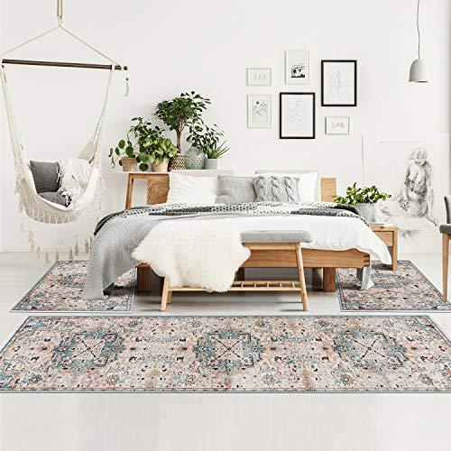 MyShop24 Teppich Schlafzimmer - Boho Design - Bettumrandung Bettvorleger - Vintage Beige - Ornament Muster - Deko Schlafzimmer - Kurzflor Orientalisch mit Fransen Oeko-Tex Standard 100