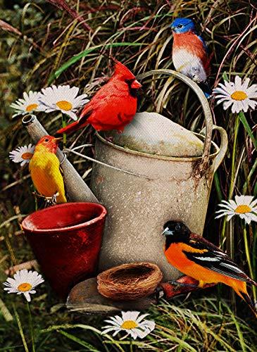 Artofy Home Decorative Cardinal Flower Small Garden Flag Blue Birds Double Sided, Floral Daisy Burlap Hummingbird Outside House Yard Decoration, Seasonal Outdoor Dcor Flag 12.5 x 18 Spring Summer