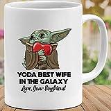 N\A Baby #Yoda Best Wife in The Galaxy Love Your Boyfriends Taza de Regalo de película Linda Taza de cerámica 11oz