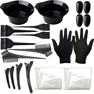 22 Pcs Hair Dye Color brush Kit - Hair Tinting Bowl,Dyeing Brush,Ear Cover,Gloves for DIY Salon Hair Coloring Bleaching Hair Dryers Hair Dye Tools