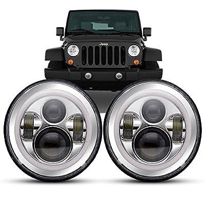 "7"" LED Headlights 2pc Bulbs RGB Halo Angel Eye with Bluetooth Remote for 1997~2017 Jeep Wrangler JK LJ CJ Hummer H1 H2 LED Headlamp Projector White DRL & Amber Turn Light Hi/Lo Beam"