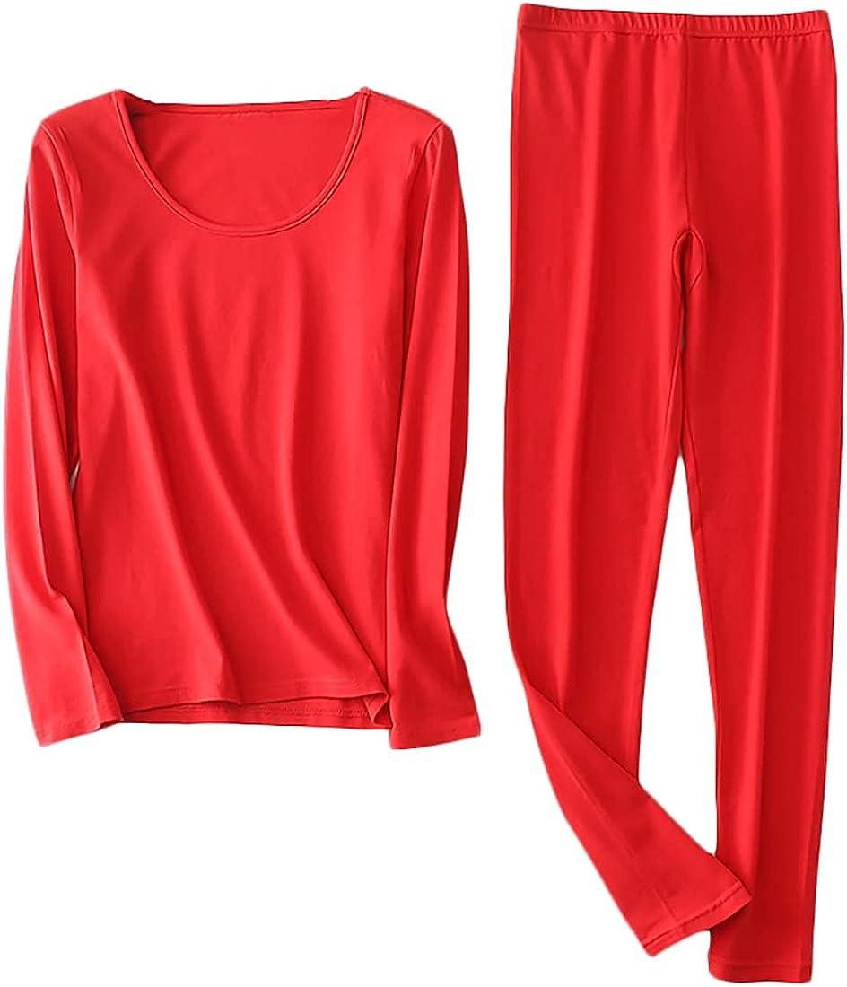 Wofupowga Women's 2Pcs Long Johns Set Pajamas Sets