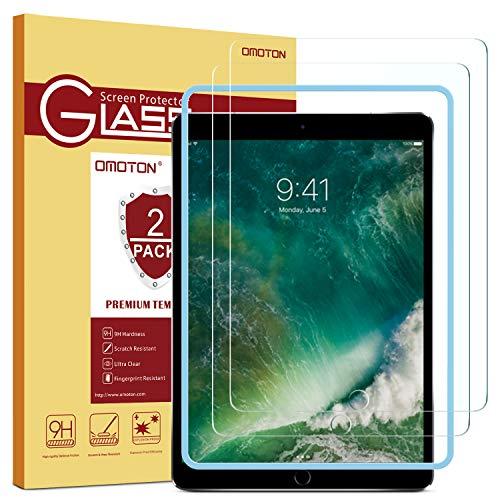 OMOTON [2 Stück] Panzerglasfolie für das Neue iPad 9.7 Zoll 2018, iPad 2017,iPad Pro 9.7 Zoll, iPad Air/iPad Air 2, mit Schablone,9H Härte, Anti-Kratzer, Anti-Öl, Anti-Bläschen