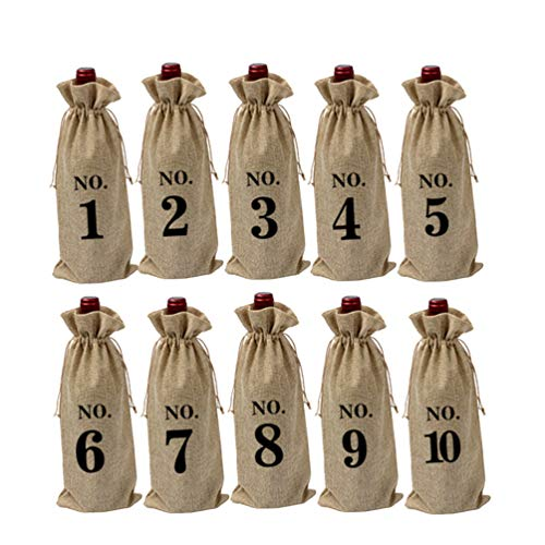 PRETYZOOM Sackleinen Weinbeutel Kordelzug Blindverkostung Nummerierte Weinflasche Geschenkbeutel Hochzeit Leinen Weinbeutel Vintage 10 Stück (Nummer 1-10)