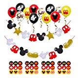 Cartoon Mouse Birthday Party Decorations,Cartoon Mouse Garlands for Cartoon MouseTheme Party Kids 1st Birthday Favor Cartoon Mouse Glitter Garland with 12Pcs Confetti Latex Balloons and Stickers Supplies