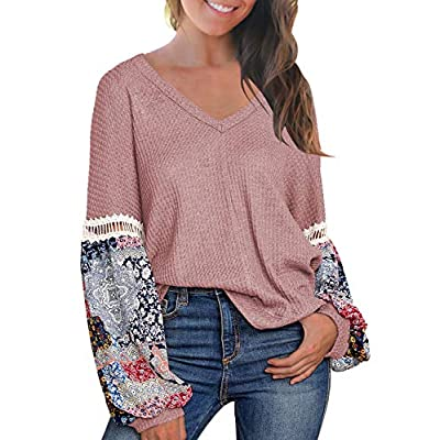 Women's Casual Tops Printed Long Sleeve V Neck T Shirts Loose Pullover Sweater
