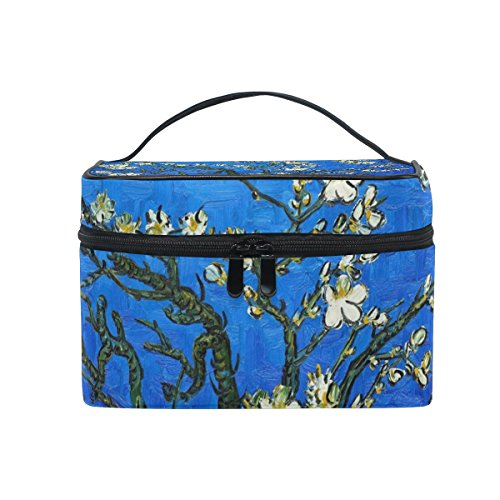 JSTEL Van Gogh Trousse de toilette en fleur d'amandier avec poignée supérieure et fermeture éclair de qualité supérieure