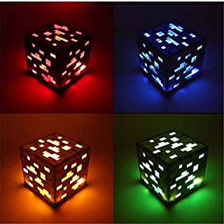 LISAY Creative Night Light,Night Lamp,Toy Light Up Redstone Night Lamp Ore Square LED Action Figure Diamond Ore Christmas Figures Toys for Kid (Color : Yellow)