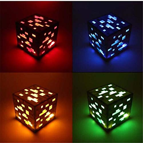 BEITAI Toy Light Up Redstone Night Lamp Ore Square LED Figura de acción Diamond Ore Christmas Figures Toys For Kid (Emitting Color : Blue)