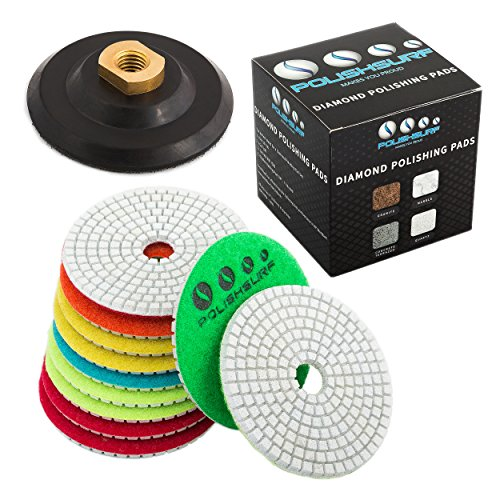 Diamond Polishing Pads 4 inch Wet/Dry Set of 11+1 Backer Pad for Granite Concrete Marble Polishing plus eBook - Polishing Process Best Practices by POLISHSURF
