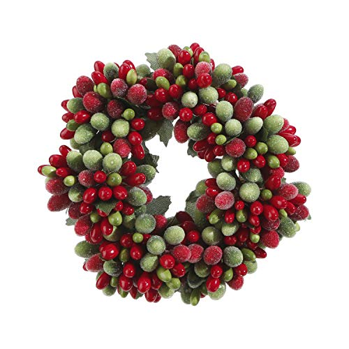 Red and Green Frosted Berry 6.5 Inch Mini Wreath Candle Ring