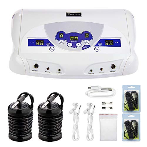 Dual Ionic Foot Bath Detox Machine, ion Detox Foot Bath Spa Cleanse System for 2 Users with MP3 Music Player, 2 Array, 2 Wrist Band, 5 Liners