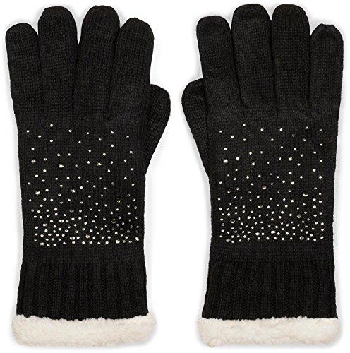 styleBREAKER warme Handschuhe mit Strass und Fleece, Winter Strickhandschuhe, Damen 09010010, Farbe:Schwarz (One Size)