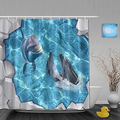 ShopHM Duschvorhang,Gebrochenes EIS Delfine süß,Stoff Badezimmer Dekor Set mit Kunststoffhaken, enthalten - 180x210cm