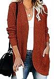 ZESICA Women's Long Sleeve Open Front Casual Lightweight Soft Knit Cardigan Sweater Outerwear,Rust,Medium