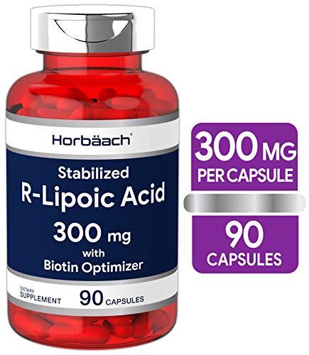 R Lipoic Acid 300mg Stabilized | 90 Capsules | Plus Biotin Optimizer | Non-GMO, Gluten Free | Na-RALA Supplement | by Horbaach